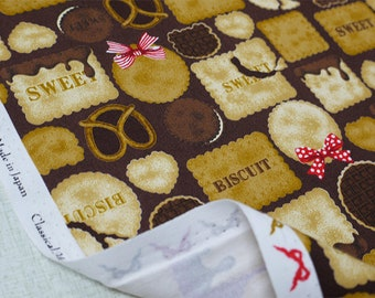 2018 Classical and Modern Japanese Fabric  / Cute Cookies Brown -  50cm x 110cm