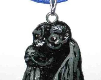 Dog Breed COCKER SPANIEL Handpainted Clay Pendant/Necklace CHOOSE Black or Blk/Wht