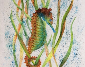 "Seahorse Watercolor giclee print ""Equine of the Ocean""  Beach series"