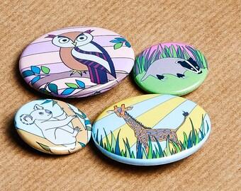 Set of 4 Animal Badges - Owl, Giraffe, Badger and Koala