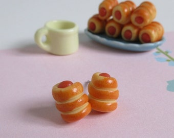 Sausage Roll Stud Earrings, Miniature Bread Earrings, Clay Food, Cute Jewelry, Gift For Her