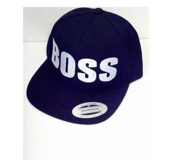 Boss Custom Embroidery Hat Flat Bill Snapback Black Hat With