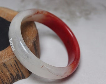 10% OFF- 58/59/60 mm Certified Natural Red Emerald A*Jade Handcarved Bangle H372