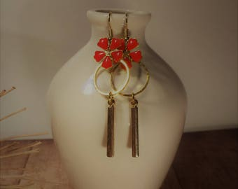 Dangle earrings red and gold