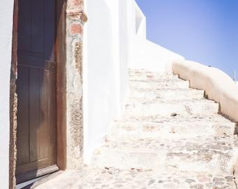 Santorini Photography, Greece Photography, White Stairs, Wall Art, Home Decor, Travel Photo, Fine Art Photography