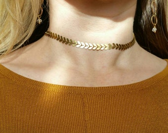Chevron choker in bright brass, matte brass, bright silver or antique silver finish