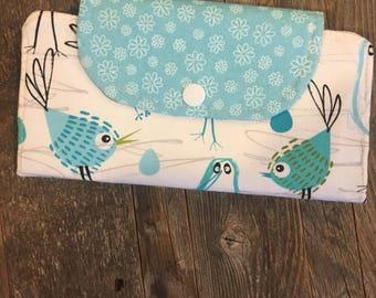 Sale/Bird slim line wallet, women's wallet, vegan,bifold wallet, cotton wallet, handmade wallet