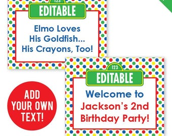 EDITABLE INSTANT DOWNLOAD Sesame Street Party - Editable, Printable 8x10 Sesame Street Signs