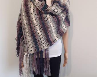 CROCHET WRAP - Mystery Friendship Crochet Wrap, Purple White Grey Crochet Wrap, Crochet Shawl, Squares Pattern, Made by Order