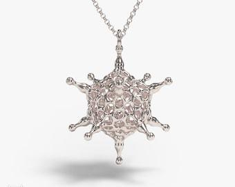 science jewelry: silver adenovirus necklace - viral pendant - wearable virus - microbiology - Adenoviridae
