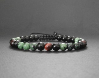 Mens stone bracelet natural jade dragon, red Tiger eye and onyx