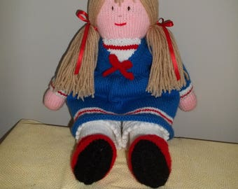 Knitted Doll in Royal Blue Dress