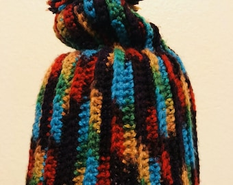 Black Base Rainbow knit Beanie with Puff Ball on Top