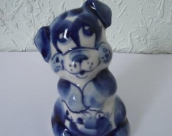 Gzhel Porcelain Dog Figurine, Russian Porcelain, Dog Figurine, Original Russian Gzhel Porcelain, Collectible Figurine, Dog Figurine