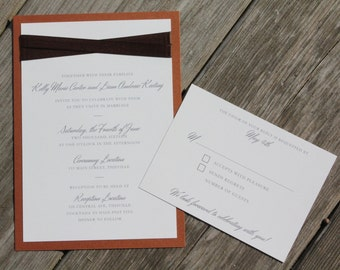 KELLY -  *Sample*  Copper and Chocolate with Ribbon Layered Wedding Invitation includes reply card and envelopes
