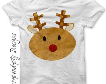 Reindeer Iron on Transfer - Christmas Iron on Shirt / Christmas Tshirt / Kids Clothing Tops / Iron on Patch / DIY Cute Kid Clothes IT143