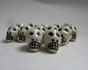 Skull Beads White Peruvian Ceramic Skull Beads with Large Horizontal Holes 16mm 10 Beads