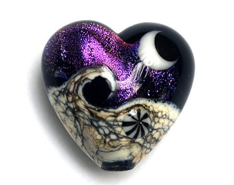 11832905 Amethyst Jewel Celestial Heart - Handmade Glass Lampwork Bead
