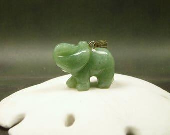 Jade Elephant Pendant/ Carved Jade Elephant Necklace/ Lucky Elephant/ Natural Green Jade / Happiness