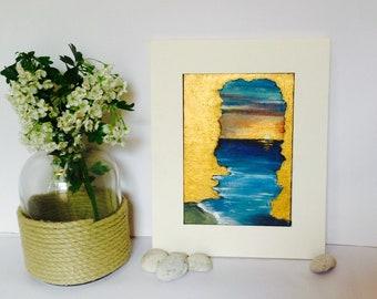 Metallic Gold Painting Original Artwork Beach Sunset Cave Silhouette