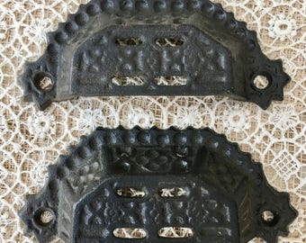 Beautiful Pair of Vintage Iron Bin Drawer Handles