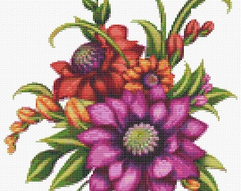 Floral Cross Stitch Chart, Serenade Cross Stitch Pattern PDF, Art Cross Stitch, Embroidery Chart