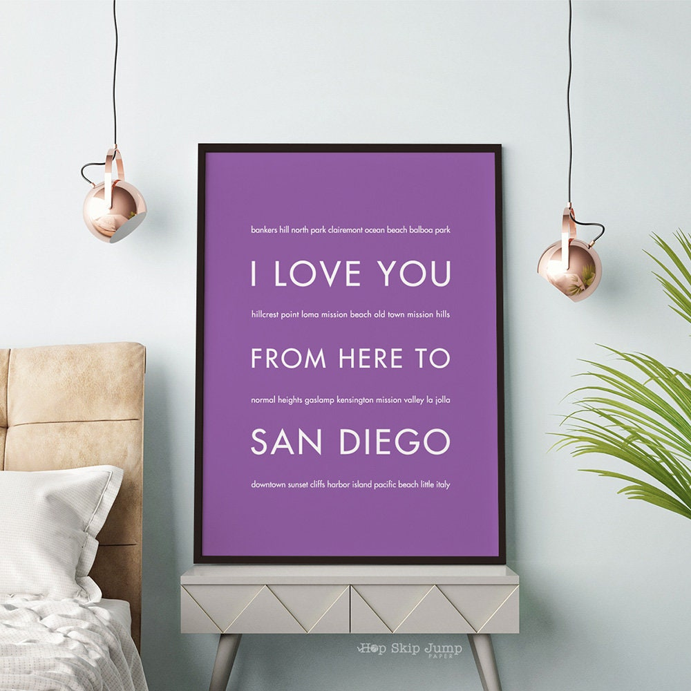San Diego Art Print California Poster Home Decor I Love You