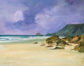 Giclee print, Porthtowan, original cornish seascape, coastal art, beach, made in Cornwall