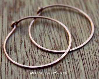 Copper Hoop Earrings - 1 Inch Hoops - Solid Copper Small Medium Hoops - Minimalist - 18 Gauge Copper - 7th Anniversary Gift - Two Feathers