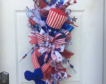 Patriotic swag, Uncle Sam, red white and blue, door hanger