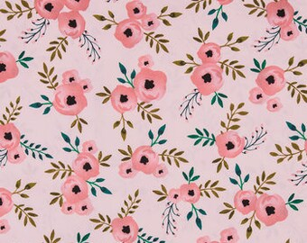 fabric Watercolor blush Rose apparel fabric   fat quarter, 1/2  yard. or by the  yard Cotton  quilting apparel fabric