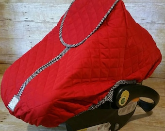 Winter Carseat Cover Polar Line in Red with Black & White Check Trim