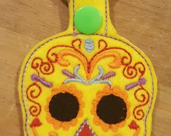 Large Sugar Skull keyring