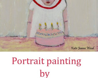 Happy Birthday Gift. Acrylic Girl Portrait Painting. Birthday Cake Art. Child Birthday Gift. Bedroom Wall Art Hanging. Sister Birthday Gift