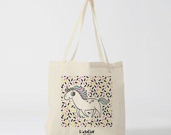 X282Y Licorne, bag canvas cotton bag, diaper bag, handbag, tote bag, bag of race, current bag, shopping bag, gift for friend