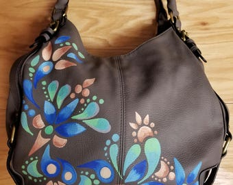 Hand painted upcycled leather hobo bag