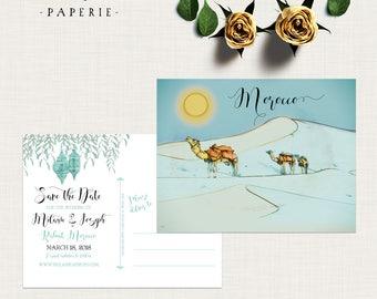 Morocco Desert Arabian illustrated wedding save the date postcards Destination wedding invitation teal Turquoise Blue - Deposit payment