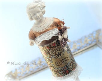 Sugar & Spice Tin Art Doll Box Miniature Assemblage Art Doll Sculpture Kitchen Art Spice Tin Decoration Lorelie Kay Original