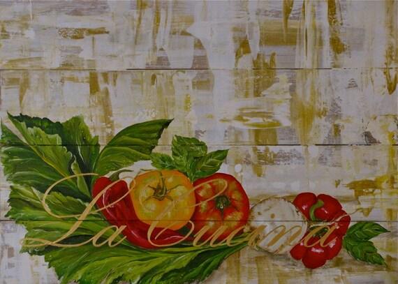 La Cucina 3 Original acrylic on solid wood board planks panels