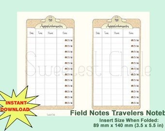 Cute Printable Field Notes TN Insert - Appointment Planner - Appoinment Tracker - Appointments - Appointment Planner - Appointment Schedule