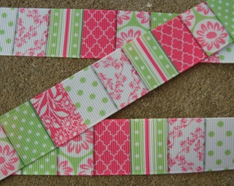 "Pink and green ribbon Chevron dots stripes flowers Ribbon 1"" 3yards pink and green ribbon craft supplie bow ribbon"