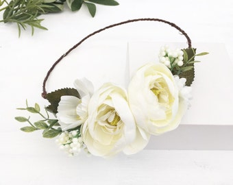 Ivory peony and wild flowers CLARA flower crown - wedding - bride - flower girl - vintage - festival