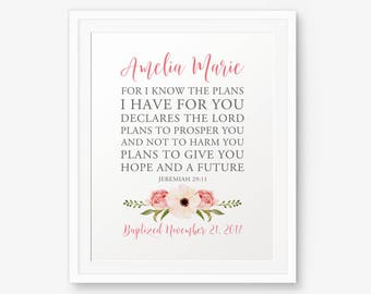 Personalized Baptism Printable, For I know the plans I have for you, Jeremiah 29:11, Custom Baptism Sign, Baptism Gift, Baptism Party, decor