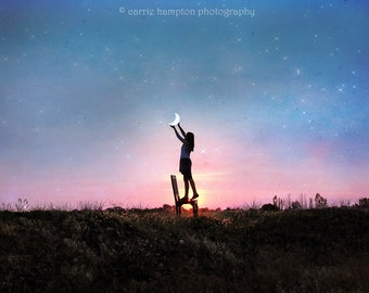 Moon photography, half moon sunset picture, poster girl hanging moon, girls room, pink nursery, fairy tale wall art, blue sky, starry night