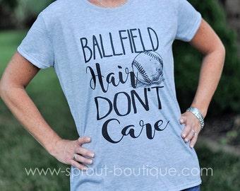 Baseball Tee, Ballfield Hair Don't Care Ladies Fit Tee - Adult Sizes