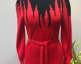 Super fun 80's cityscape Red and Black sweater knit dress.