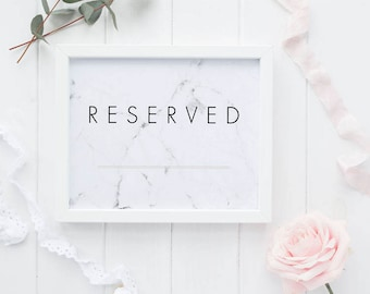 Reserved Printable Wedding Signs Wedding Reception Sign - Modern Chic Marble Reserved Reception Printable Signage PDF (Item code: P371)