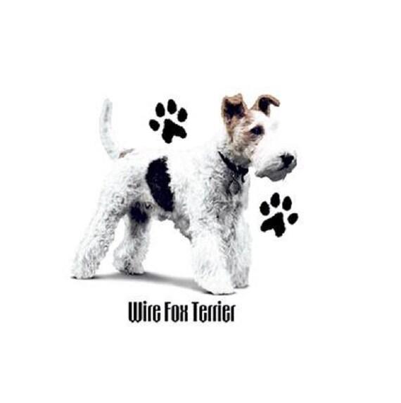 Wire Fox Terrier Hunde T Shirt Quilt Stoff-Block Tasche