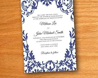 Printed Navy Floral Wedding Invitations