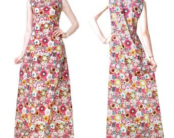 Cotton print Office evening long dress (M41)